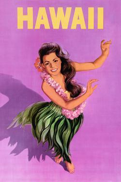 Hawaiian Hula Girl Vintage Travel Poster by Piddix