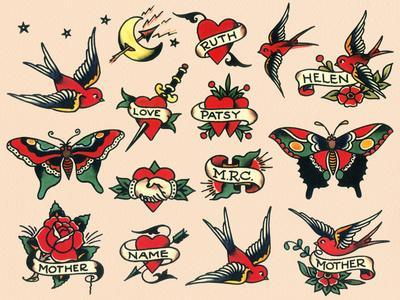 Hearts and Sparrows, Authentic Vintage Tatooo Flash by Norman Collins, aka, Sailor Jerry