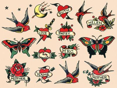 Hearts and Sparrows, Authentic Vintage Tatooo Flash by Norman Collins, aka, Sailor Jerry by Piddix