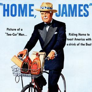 """""""Home, James"""" Retro Whiskey Advertisement, Gentleman on Bicycle by Piddix"""
