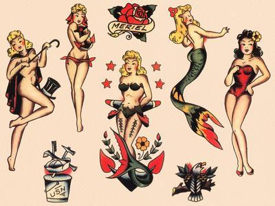 Mermaids and Dancers, Authentic Mid-Century Tattoo Flash by Norman Collins, aka, Sailor Jerry