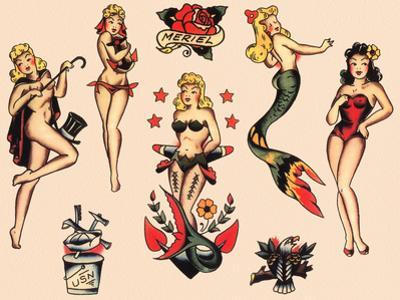 Mermaids and Dancers, Authentic Mid-Century Tattoo Flash by Norman Collins, aka, Sailor Jerry by Piddix