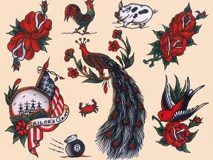 Peacocks, Roses & Roosters: Vintage Sailor and California Biker Tatooo Flash by Piddix
