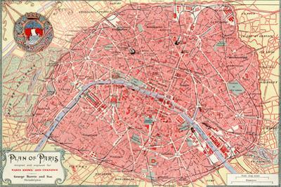 """""""Plan of Paris"""" French Map from the 1800s by Piddix"""
