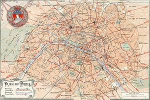 """""""Plan of Paris"""" Travelways French Map from the 1800s by Piddix"""