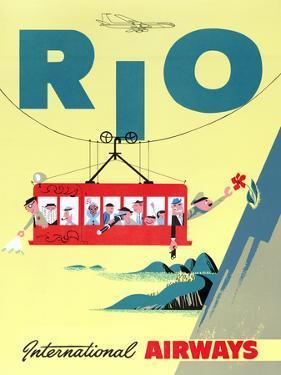 """Rio"" Vintage Travel Poster, International Airways by Piddix"