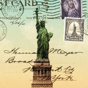 Statue of Liberty, New York Vintage Postcard Collage by Piddix