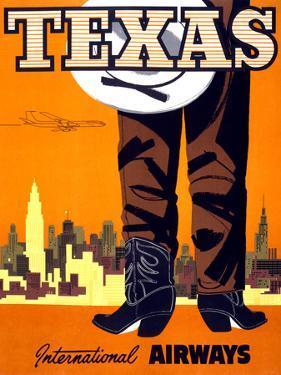 """Texas"" Vintage Travel Poster, International Airways by Piddix"
