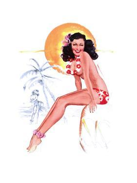 """""""They Grow Big Coconuts Down Here"""" 1950s Pin-Up Calendar Girl by T. N. Thompson by Piddix"""