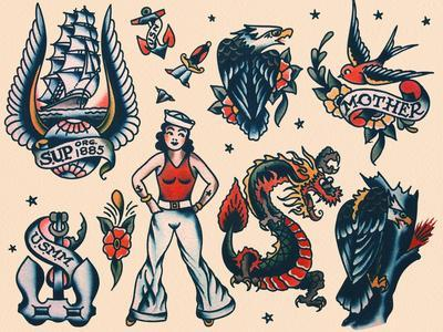 Vintage Sailor Tattoo Flash by Norman Collins, aka, Sailor Jerry