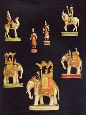 Pieces from an Ivory Chess Set Made in Delhi for Begum Samru in C.1790