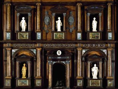 Baroque Style Wood and Walnut Root Lombard Double Cabinet also known as Lucini Passalacqua Cabinet by Pier Francesco Mazzucchelli