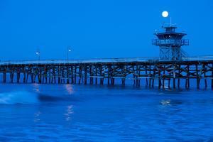 Pier in the Pacific Ocean at night, San Clemente Pier, San Clemente, California, USA