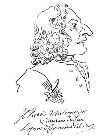 Caricature of Composer Antonio Vivaldi, 1723