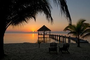 Pier with Palapa on Caribbean Sea at Sunrise, Maya Beach, Stann Creek District, Belize
