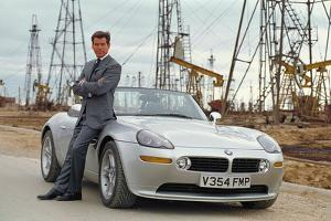 Pierce Brosnan with a Pre-Production Replica Bmw Z8 Roadster Made from Kit at Propshop