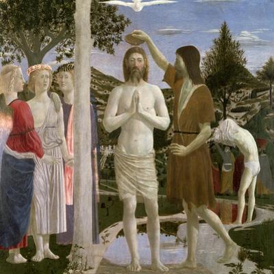 Baptism of Christ, Detail of Christ, John the Baptist and Angels, 1450