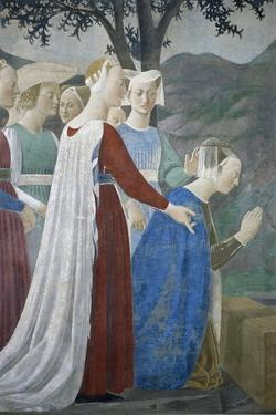 Detail from the Legend of the True Cross Showing Queen of Sheba in Adoration of Tree of Cross by Piero della Francesca