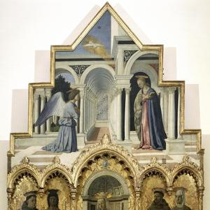 Detail of the Upper Part of the Annunciation by Piero ...