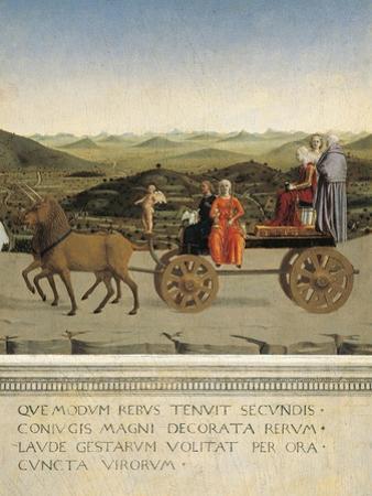 Diptych of Dukes of Urbino: Triumph of Duchess of Urbino, Back Side of Portrait of Battista Sforza