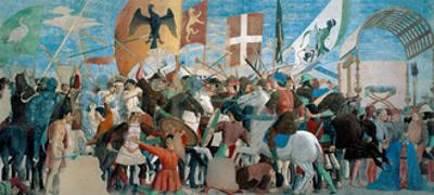 Legend of the Cross, Battle of Heraclius & Chosroes.  Piero della Francesca, 1452-62. Arezzo, Italy