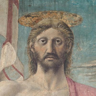Resurrection of Christ,  by Piero della Francesca, 1450-63.  Arezzo, Italy Detail.