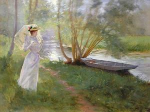 A Walk by the River, 1890 by Pierre Andre Brouillet