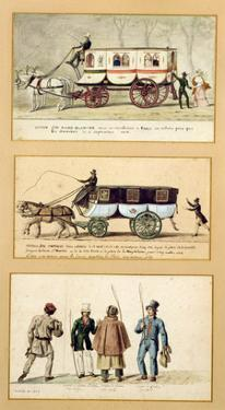 A Dame Blanche Carriage, an Omnibus and Drivers, 1815-30 (Gouache on Paper) by Pierre Antoine Lesueur