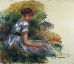Alice Gamby in the Garden, Young Girl Sitting in the Grass, 1891 by Pierre-Auguste Renoir