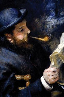 Claude Monet Reading a Newspaper by Pierre-Auguste Renoir