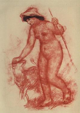La jeune fille et l'agneau by Pierre-Auguste Renoir