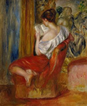 La liseuse-reading woman, around 1900. Oil on canvas, 56 x 46 cm. by Pierre-Auguste Renoir