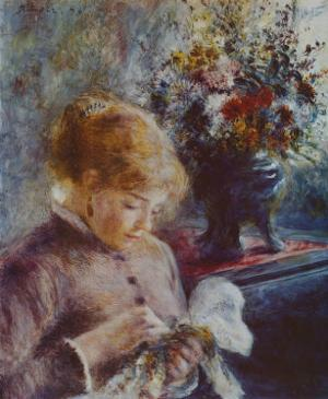 Lady Sewing by Pierre-Auguste Renoir