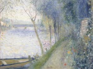 Landscape at the Edge of the Seine with the Pont D'Argenteuil by Pierre-Auguste Renoir
