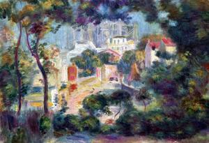 Pierre-Auguste Renoir (Landscape with view of Sacre-Coeur) Art Poster Print