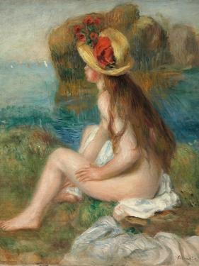 Nude with a Straw Hat Beside the Sea, 1892 by Pierre-Auguste Renoir