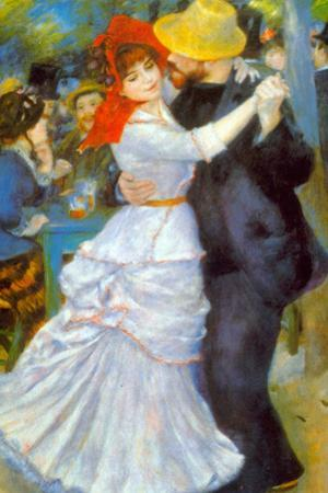 Pierre Auguste Renoir Dance at Bougival Plastic Sign by Pierre-Auguste Renoir
