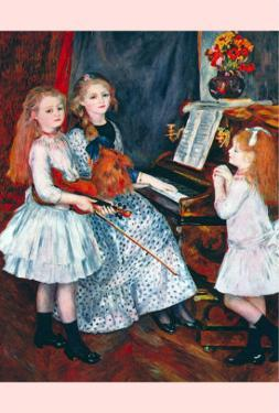 Portrait of The Daughters of Catulle Mend?At The Piano by Pierre-Auguste Renoir