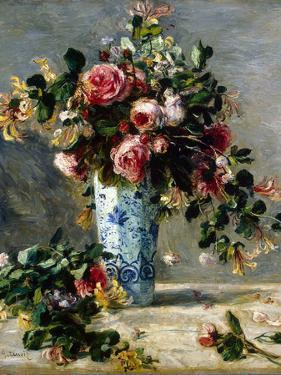 Roses and Jasmine in a Delft Vase, 1880-1881 by Pierre-Auguste Renoir