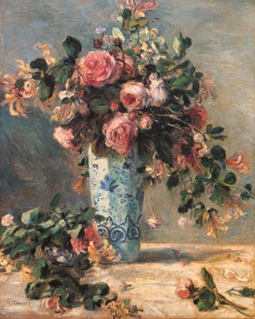 Roses & Jasmine in a Delft Vase, 1881 by Pierre-Auguste Renoir
