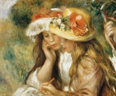 Two Girls Drawing by Pierre-Auguste Renoir