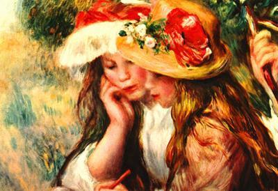 Pierre-Auguste Renoir (Two girls reading in a garden) Art Poster Print