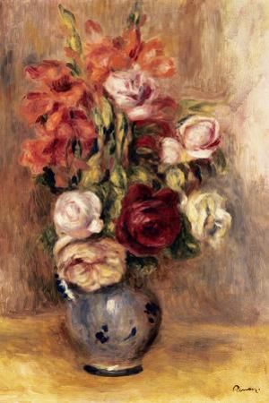Vase of Gladiolas and Roses by Pierre-Auguste Renoir