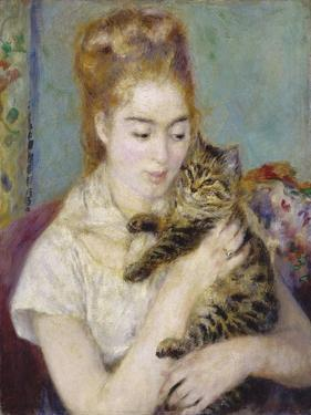 Woman with a Cat, C.1875 by Pierre-Auguste Renoir