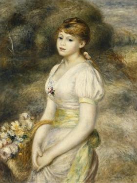 Young Girl Carrying a Basket of Flowers; Jeune Fille Portant Une Corbeille De Fleurs, 1888 by Pierre-Auguste Renoir