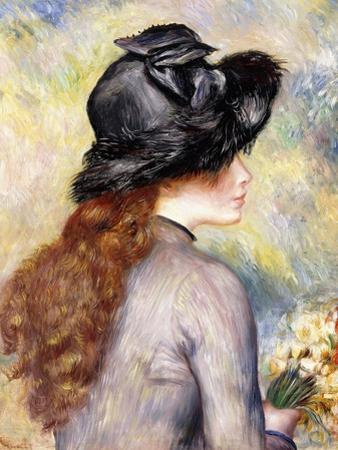 Young Girl Holding a Bouquet of Tulips, C.1878 by Pierre-Auguste Renoir