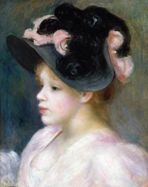 Young Girl in a Pink-And-Black Hat by Pierre-Auguste Renoir