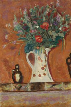 Flowers on a Mantlepiece by Pierre Bonnard