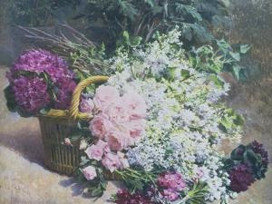 Basket of Romantic Flowers by Pierre Bourgogne