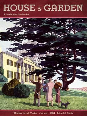 House & Garden Cover - January 1934 by Pierre Brissaud
